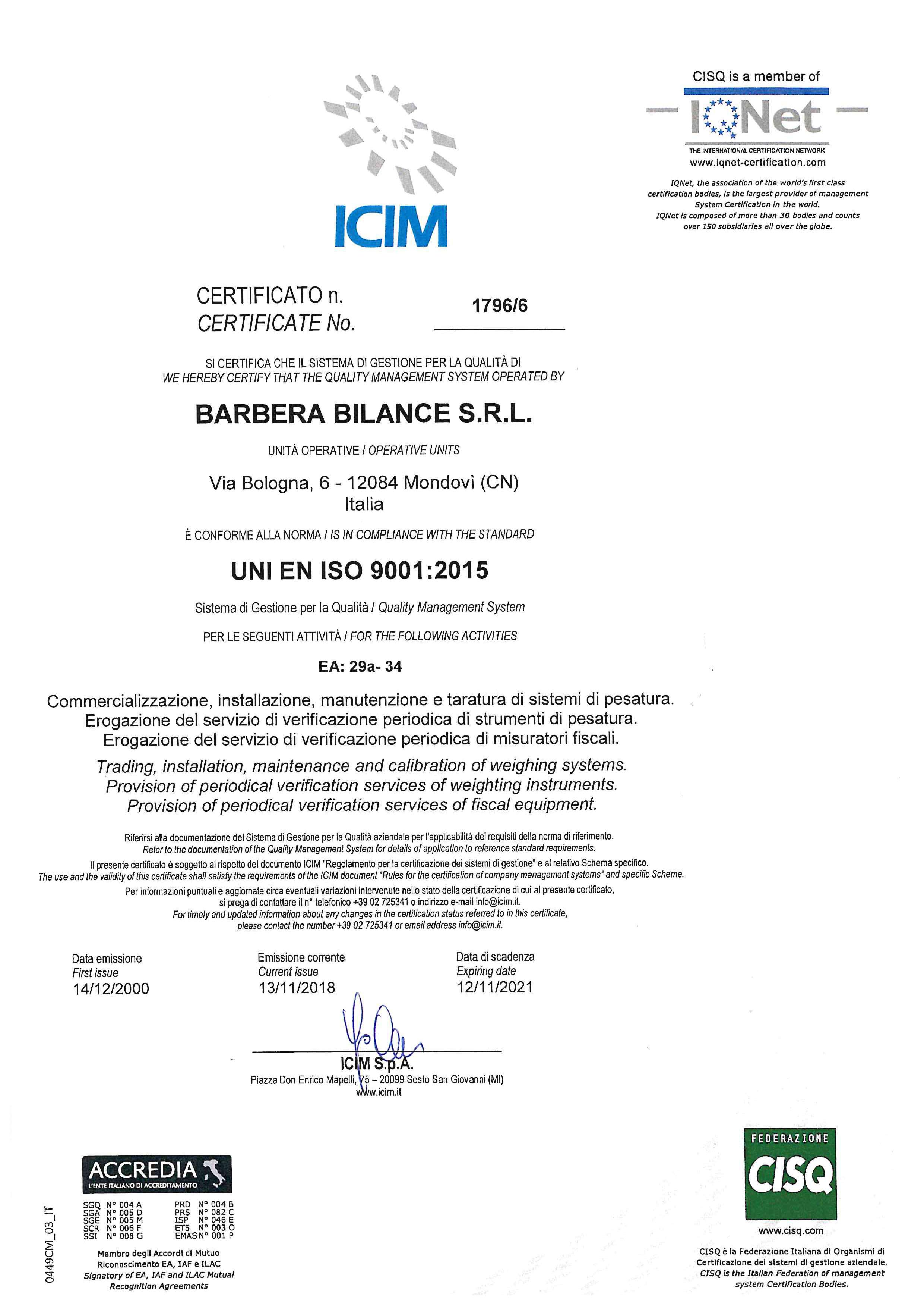 Barbera Bilance è un'azienda certificata ISO 9001:2015