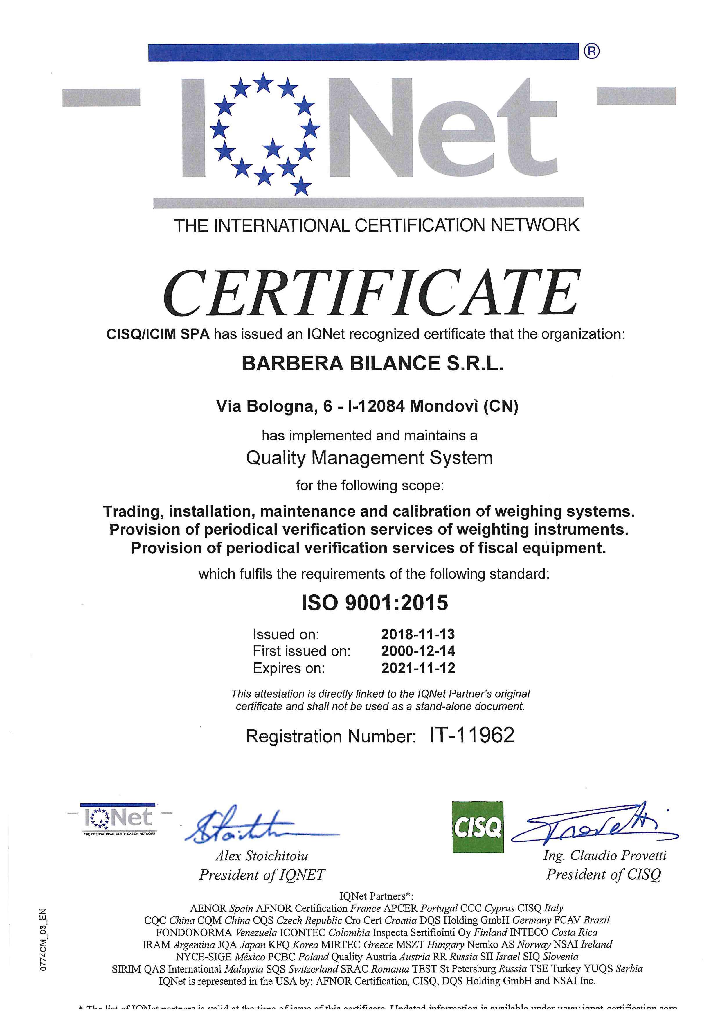 Nel 2018 Barbera Bilance ha ottenuto la certificazione ISO 9001:2015